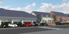 Artists impression of the commercial units on Beechley Drive